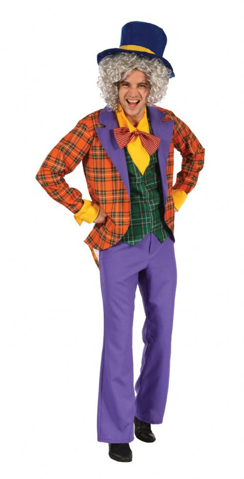 Adults Mad Hatter Costume Wonderland Mad Fancy Dress Outfit